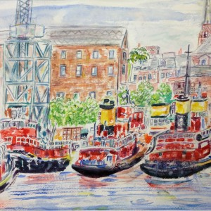 Tug Boats - Watercolor - $250