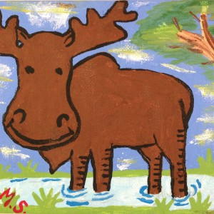 Lenny The Moose - Acrylic - $20